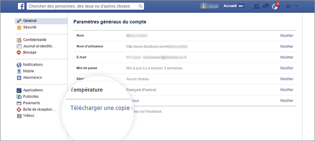 Importer contenu Facebook