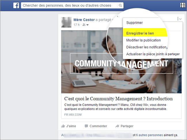 Sauvegarder publications Facebook
