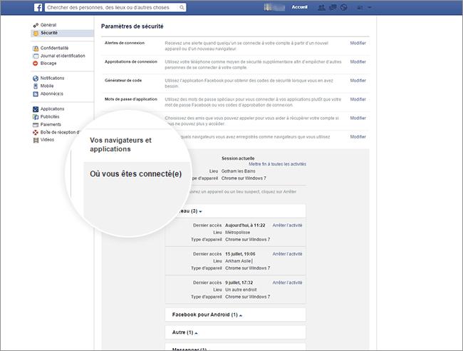 Sécurisez votre compte Facebook à distance