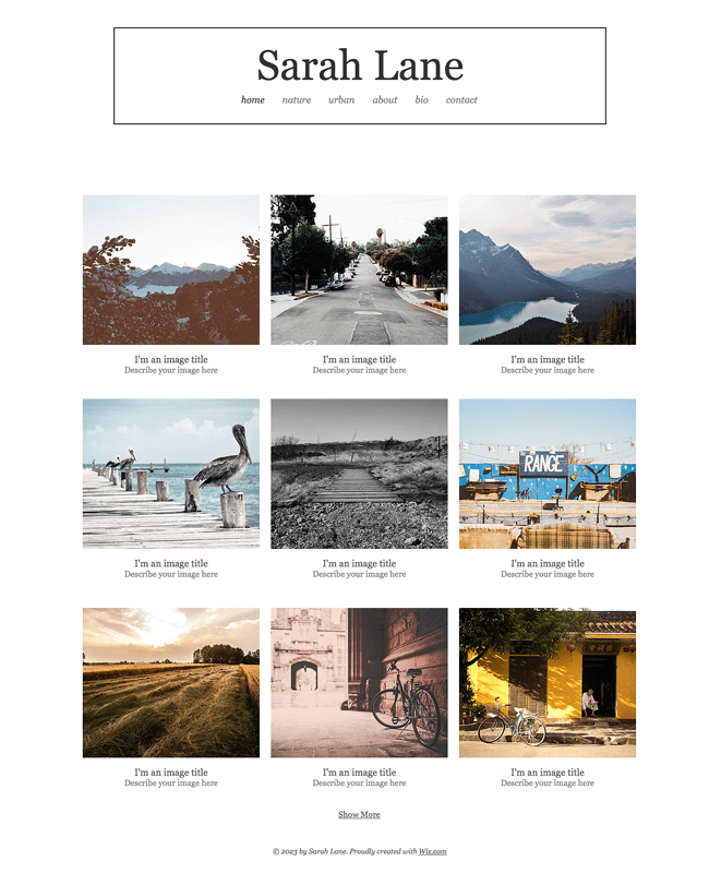 Template Wix : Outdoor Photography