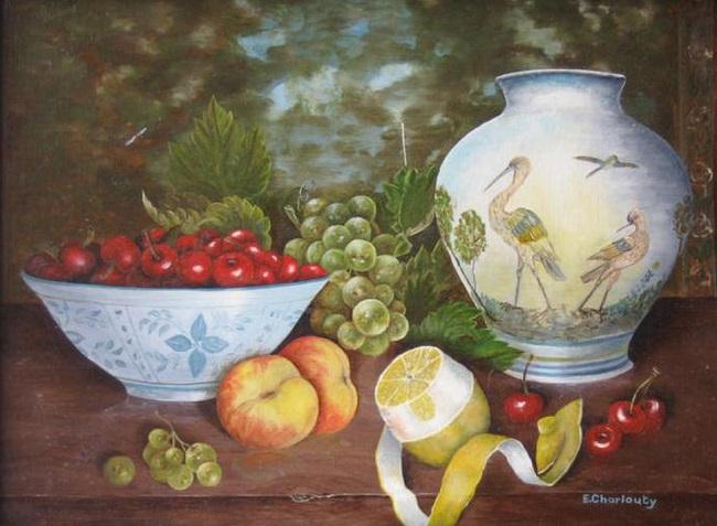 Eve Charlouty artiste peintre N° 37 Nature morte aux échassiers Cose naturali Élément1