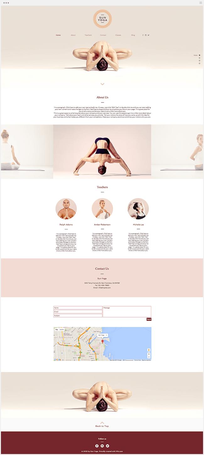 Nouveau Template Wix Yoga