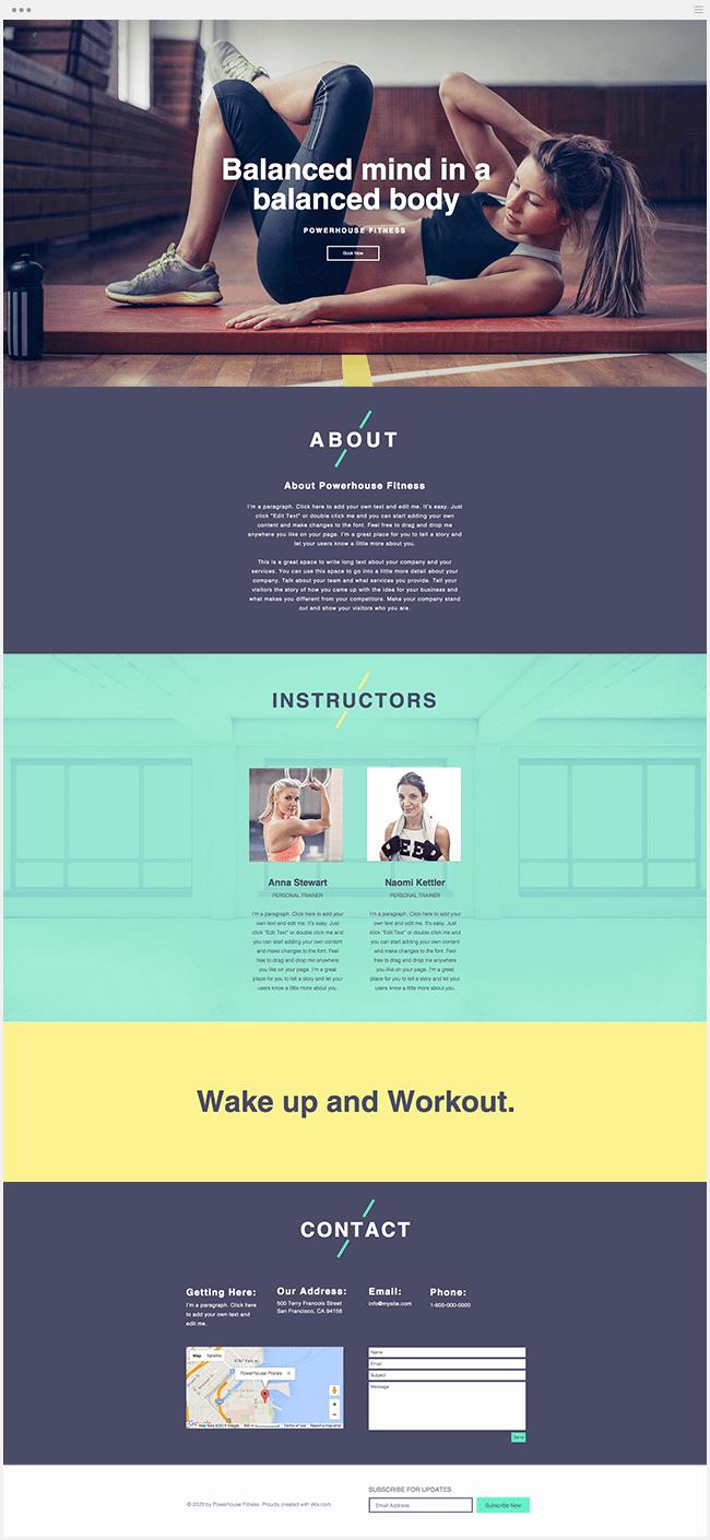 Nouveau template wix fitness