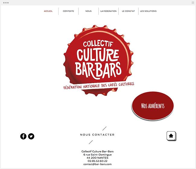 Site du Collectif Culture Bar-Bars créé avec Wix