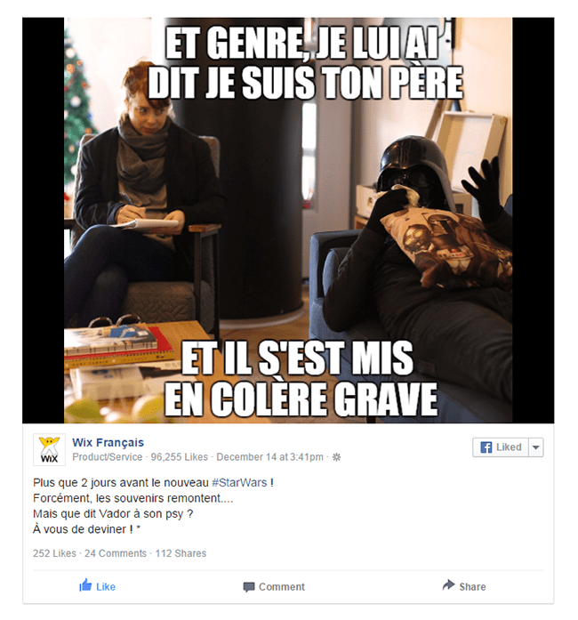 Compte Facebook Wix Dark Vador Star Wars