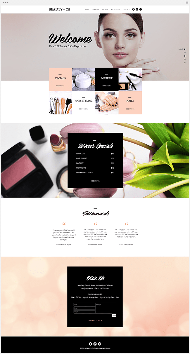 Site Wix Template Salon Beauté Maquillage Ongles