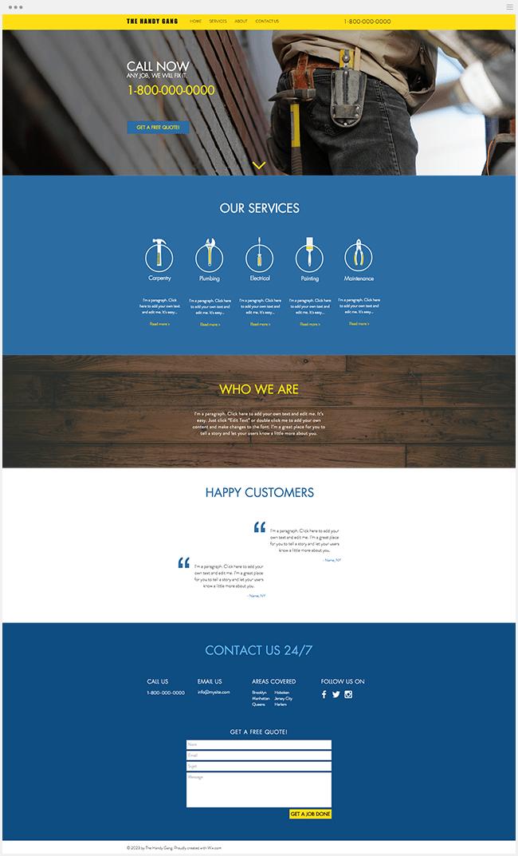 Site Wix Template Services à Domicile Travaux