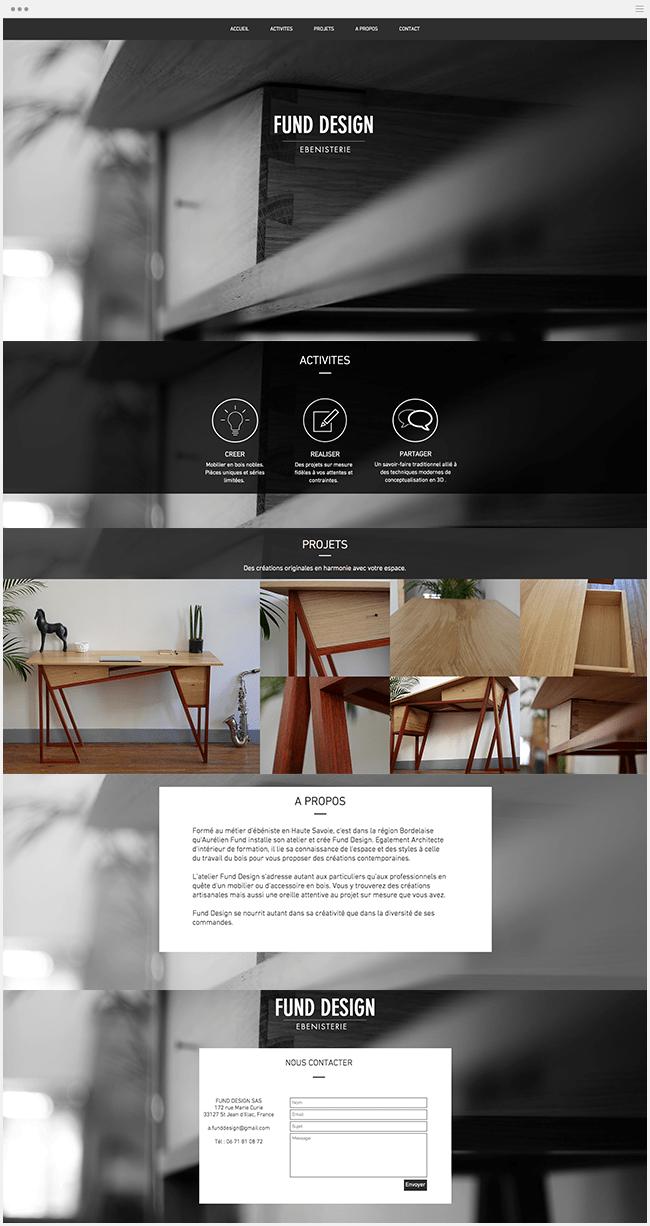 Fund Design Site Ébénisterie