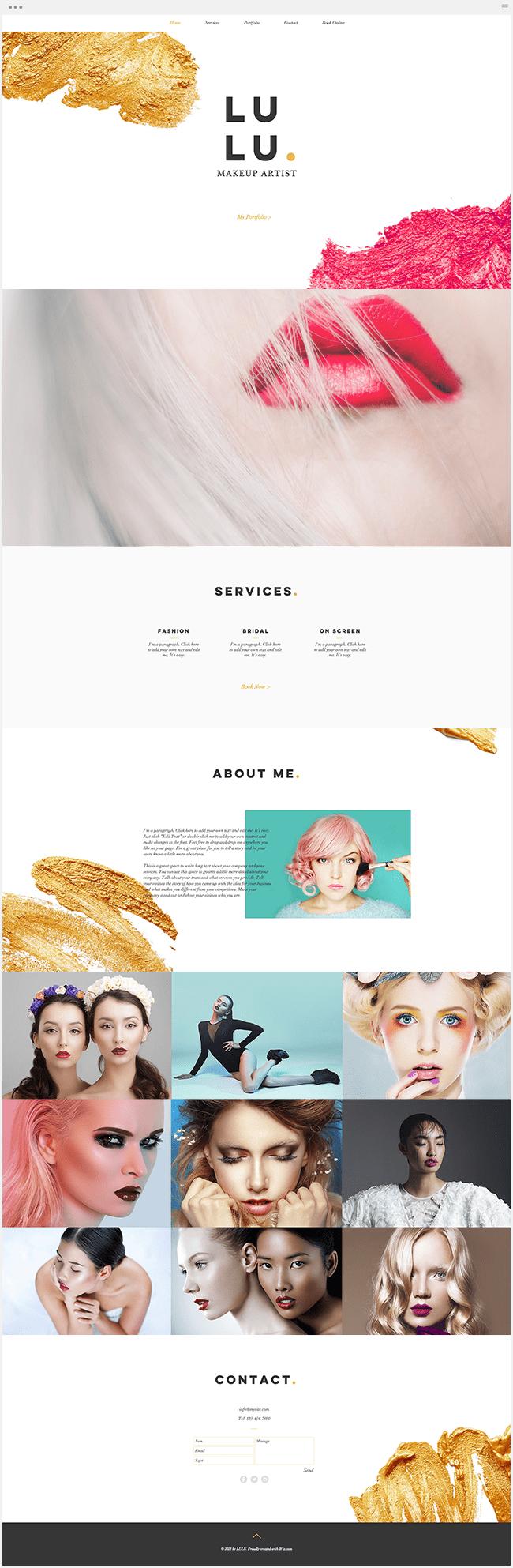 Site Wix Template Maquillage Salon Beauté