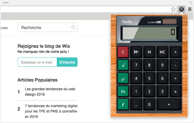 Extension Chrome : calculette