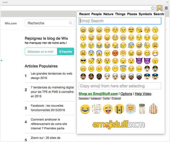 Extension Chrome : Emojistuf