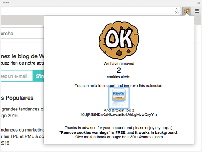 Extension Chrome : Remove cookie policy warnings from websites