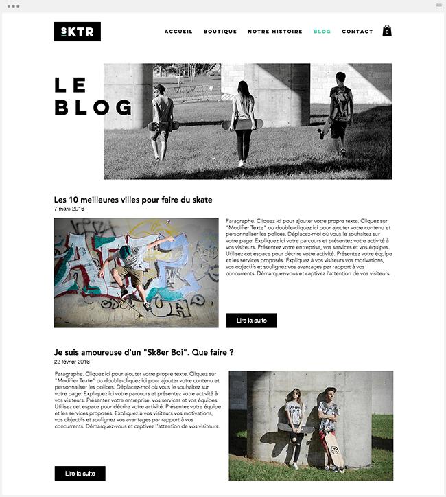 Blog Wix Boutique en ligne