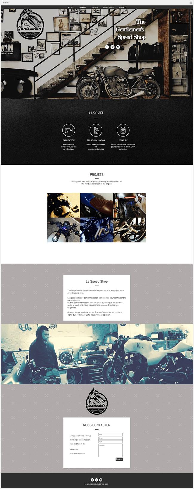 Gentlemen Speed Shop Site Vitrine Wix