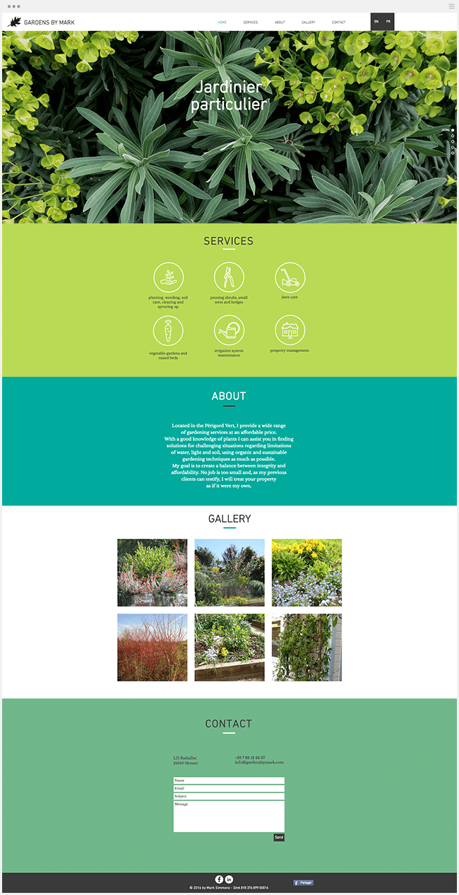 Gardens By Mark Site vitrine Wix