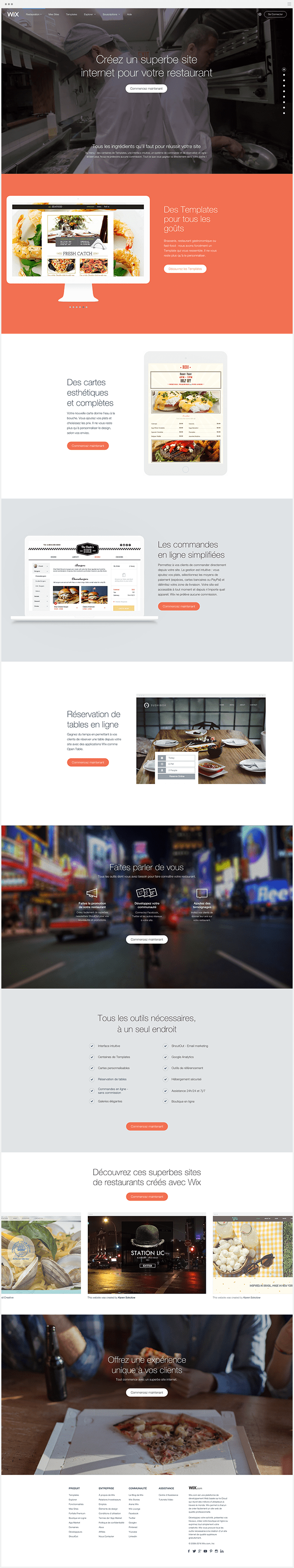 Site vitrine Wix Restaurants