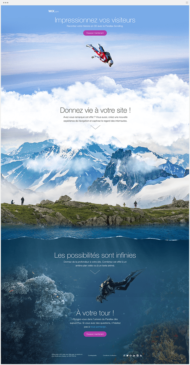 Landing Page Wix Effet Parallaxe