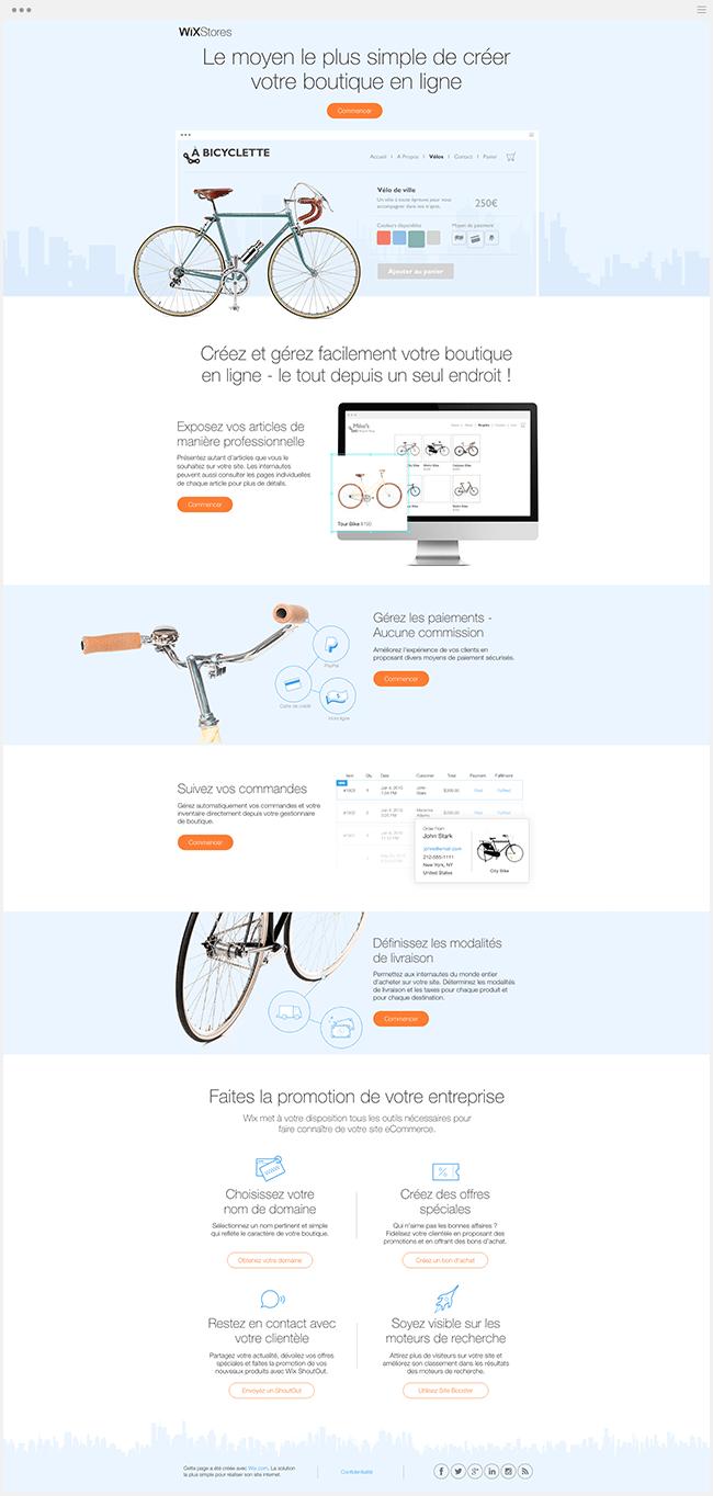 Landing Page Wix Stores Boutique en Ligne ECommerce