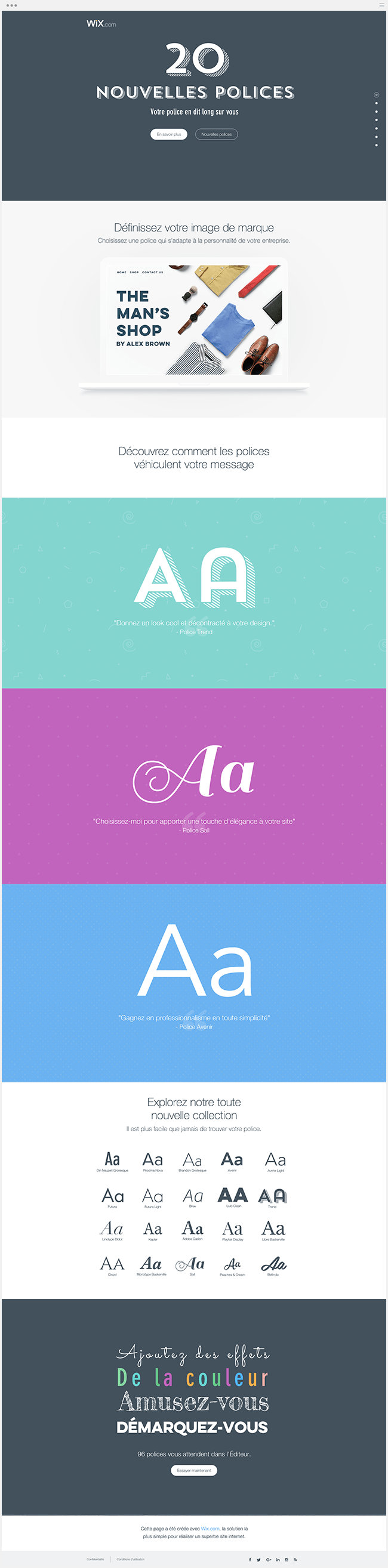 Landing Page Wix Polices de Caractères Typographie