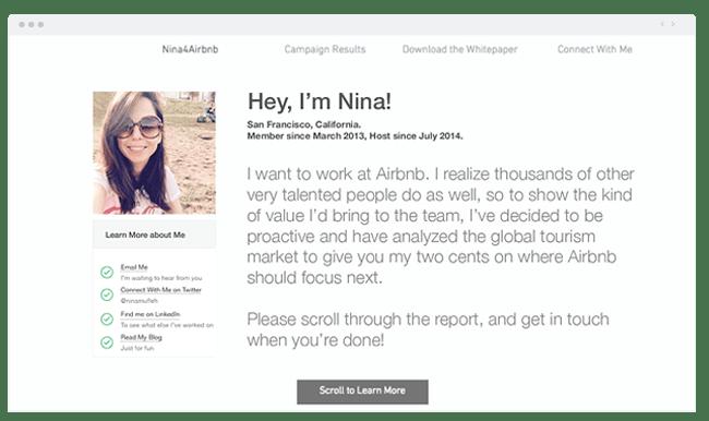 Site internet Wix de Nina pour postuler Airbnb