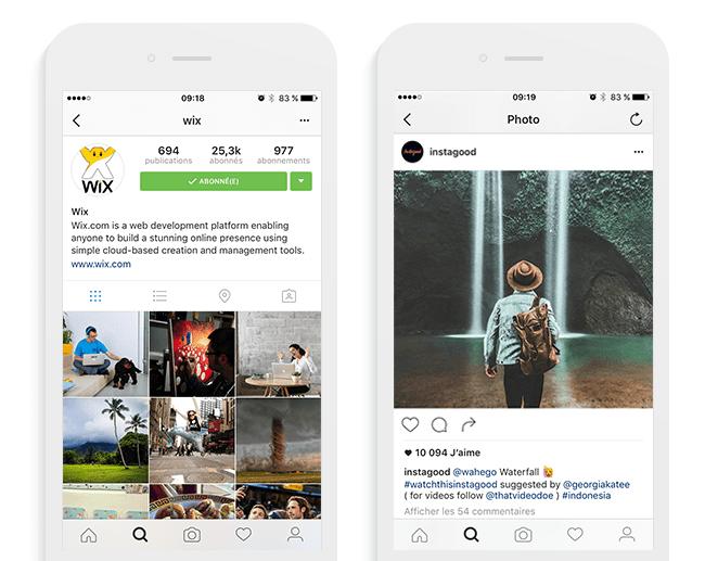 Compte instagram de Wix