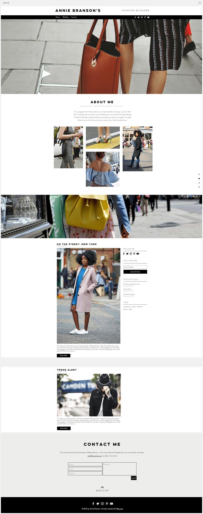 template gratuit blog fashion mode