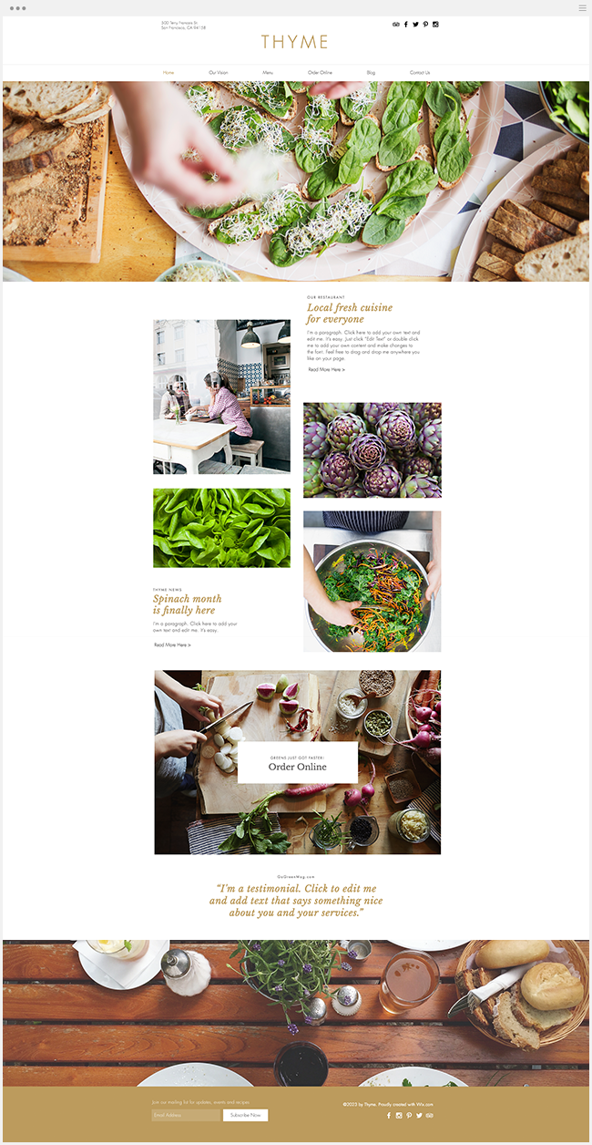 template gratuit site internet restaurant