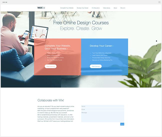 wix ed cours en ligne web design et marketing gratuit MOOC