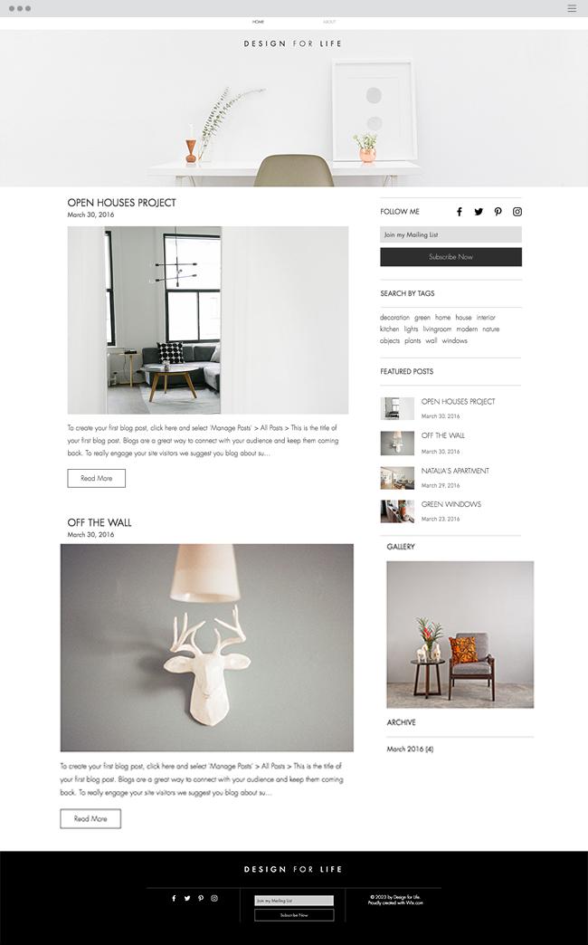 template de blog gratuit pour architecte designer et architecte d'intérieur