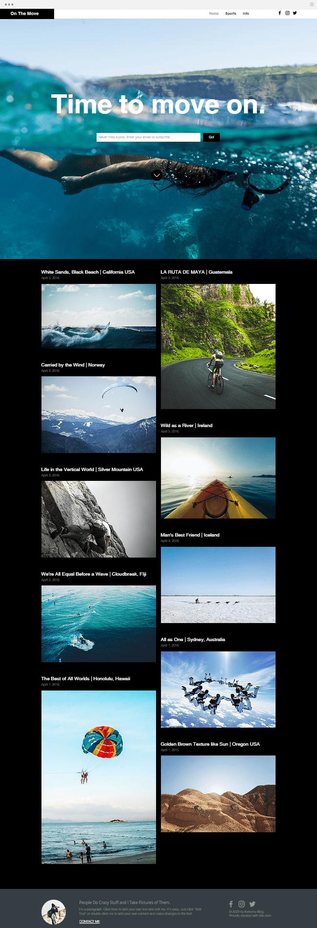 Template de blog gratuit pour sportif et sports extrêmes