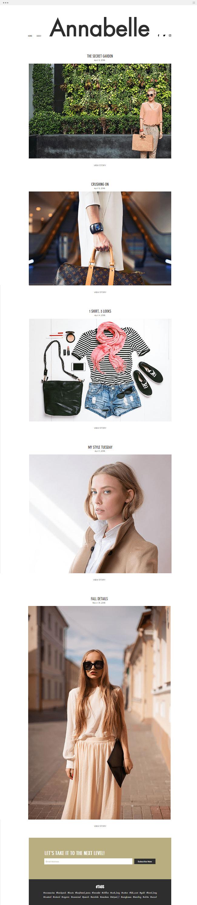 Template de Blog gratuit pour fashionista et mode
