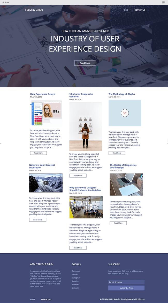 template gratuit de blog pour designers