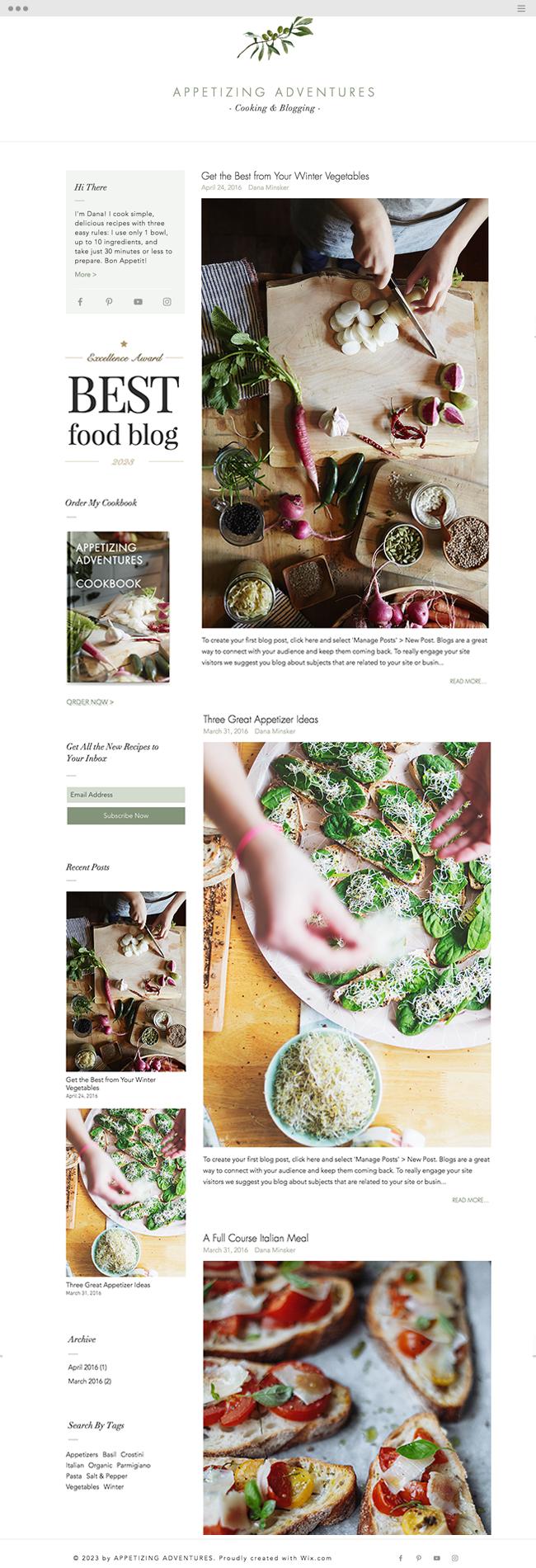 template gratuit de blog pour recettes de cuisine