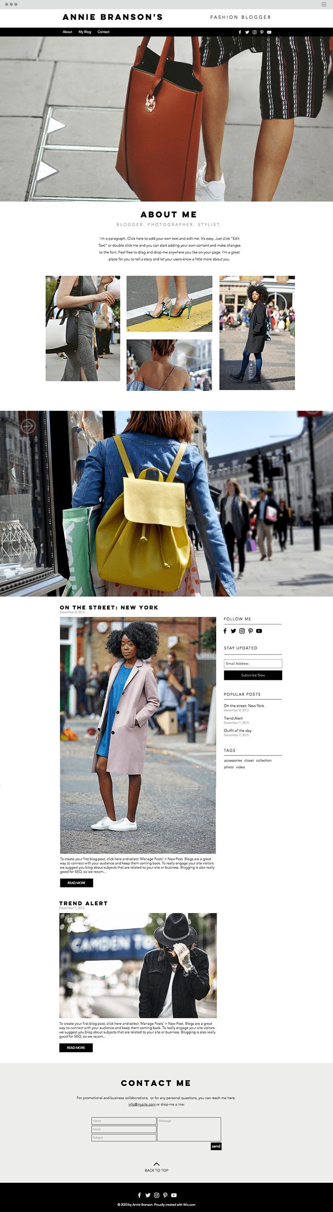 template de blog gratuit pour mode de rue