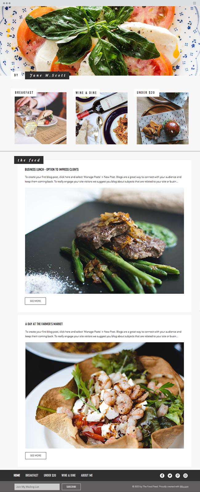 template de blog gratuit critique culinaire
