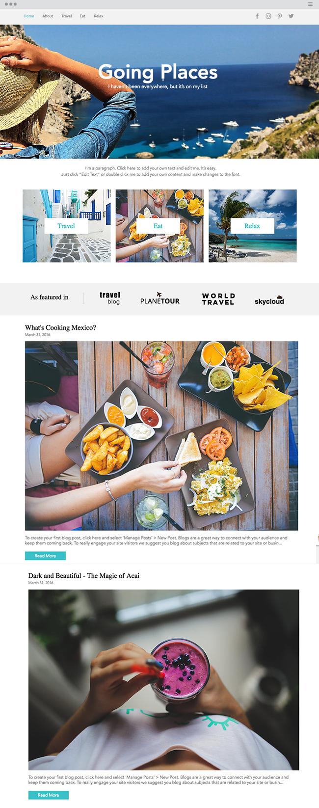template de blog gratuit voyages et voyageurs