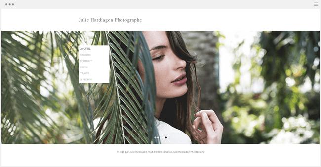 site de photographie julie hardiagon créé avec Wix