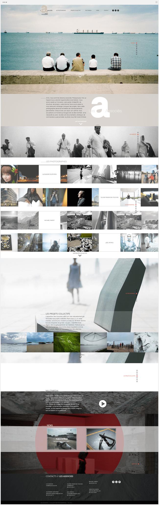 site photographie les associés créé avec Wix