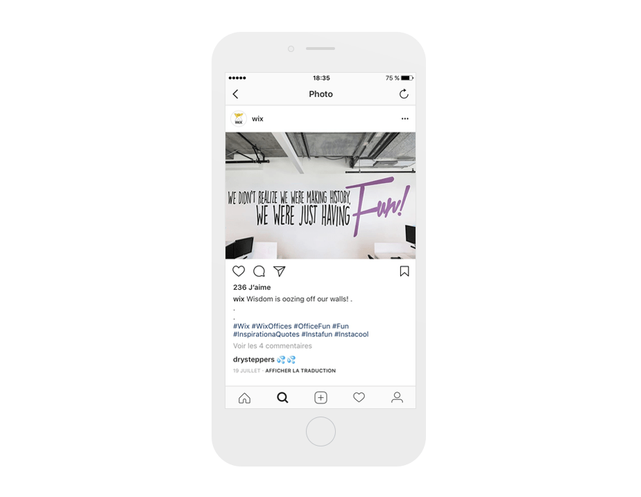 Inspiration Wix sur Instagram