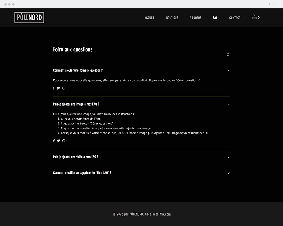 Une page FAQ