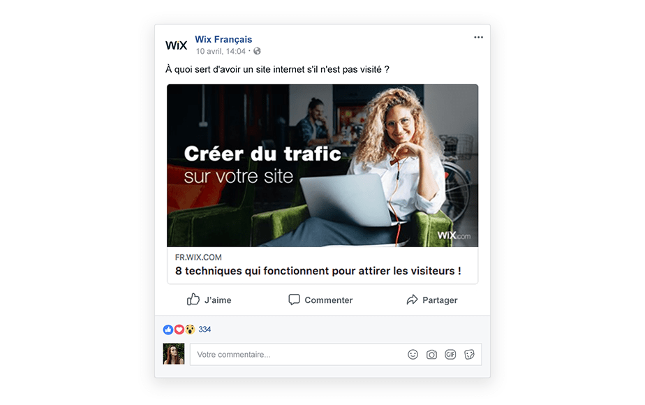 Publication d'un article de blog sur Facebook