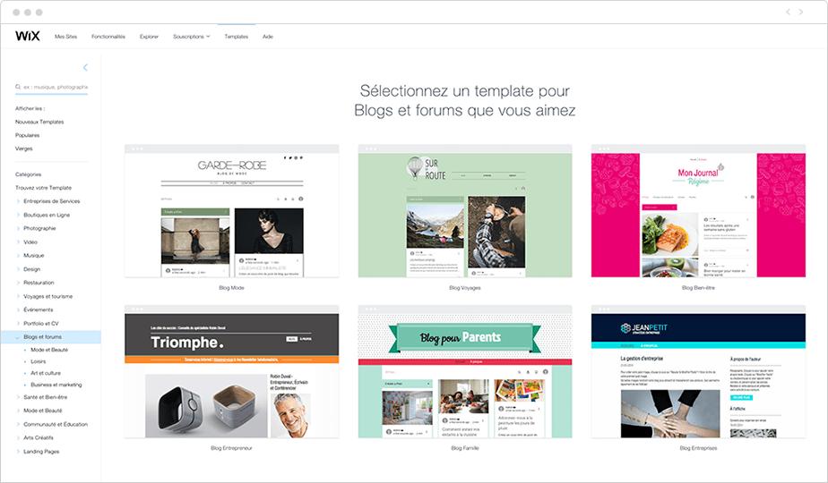 Template créer un blog