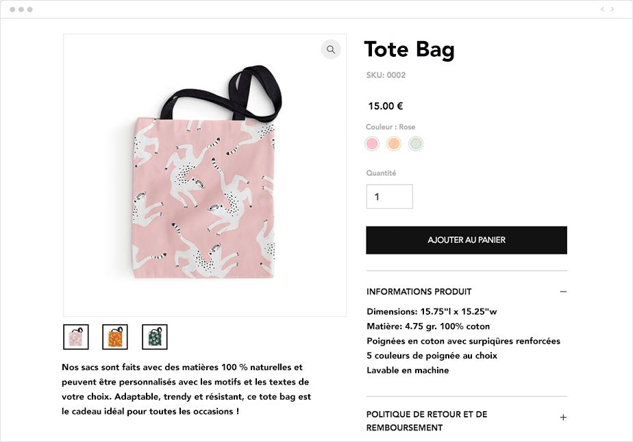 Description de produit tote bag